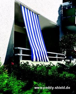 senkrecht sonnensegel 230x140 cm blockstreifen blau wei. Black Bedroom Furniture Sets. Home Design Ideas